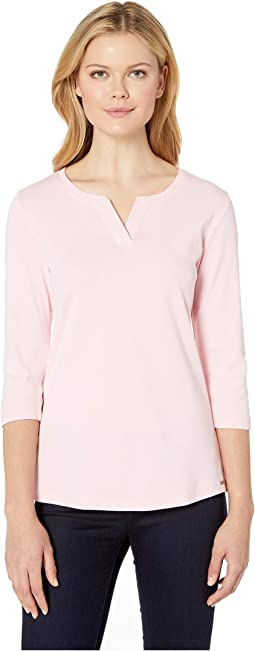 Fine Cotton Rib Solid Notched Crew Solid Top