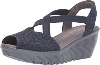 Skechers Womens 41102 Parallel - Peep Toe Gore Slingback Wedge