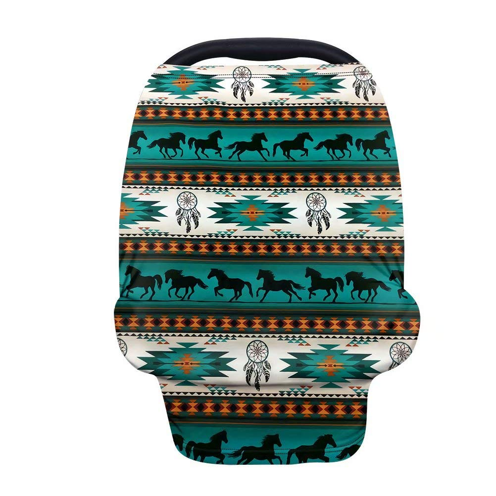 GIFTPUZZ Aztec Horses Carseat Canopy Cover Baby Car Seat Canopy Nursing Breastfeeding Covers Up Full Protection Baby Car Seat Canopies for Boys Girls Stroller Covers Shopping Cart Cover Green