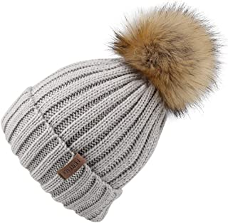 Kids Winter Knitted Pom Beanie Bobble Hat Faux Fur Ball Pom Pom Cap Unisex Kids Beanie Hat,Grey,One Size