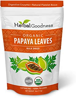 100% Organic Papaya Leaves - Dried, Cut and Sifted - Natural Herbs - Papaya Digestive Enzymes - Blood Platelet (Thrombocyt...