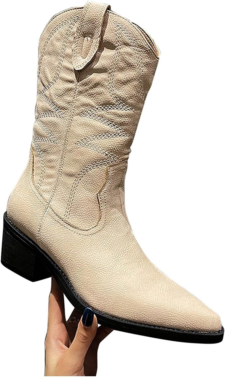 Hbeylia Cowboys Boots For Women Vintage Embroidery Leather Wide Mid Calf Western Cowgirls Boots Comfort Pointed Toe Chunky Block Low Heels Ankle Booties Slip On Knight Riding Boots For Ladies