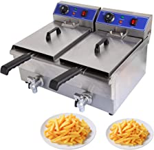 Ridgeyard 3600W 20L Dual Tank Electric Deep Fryer w/Two Basket, Digital Timer and Drain Stainless Steel Countertop for Commercial Restaurant Fast Food Home Kitchen