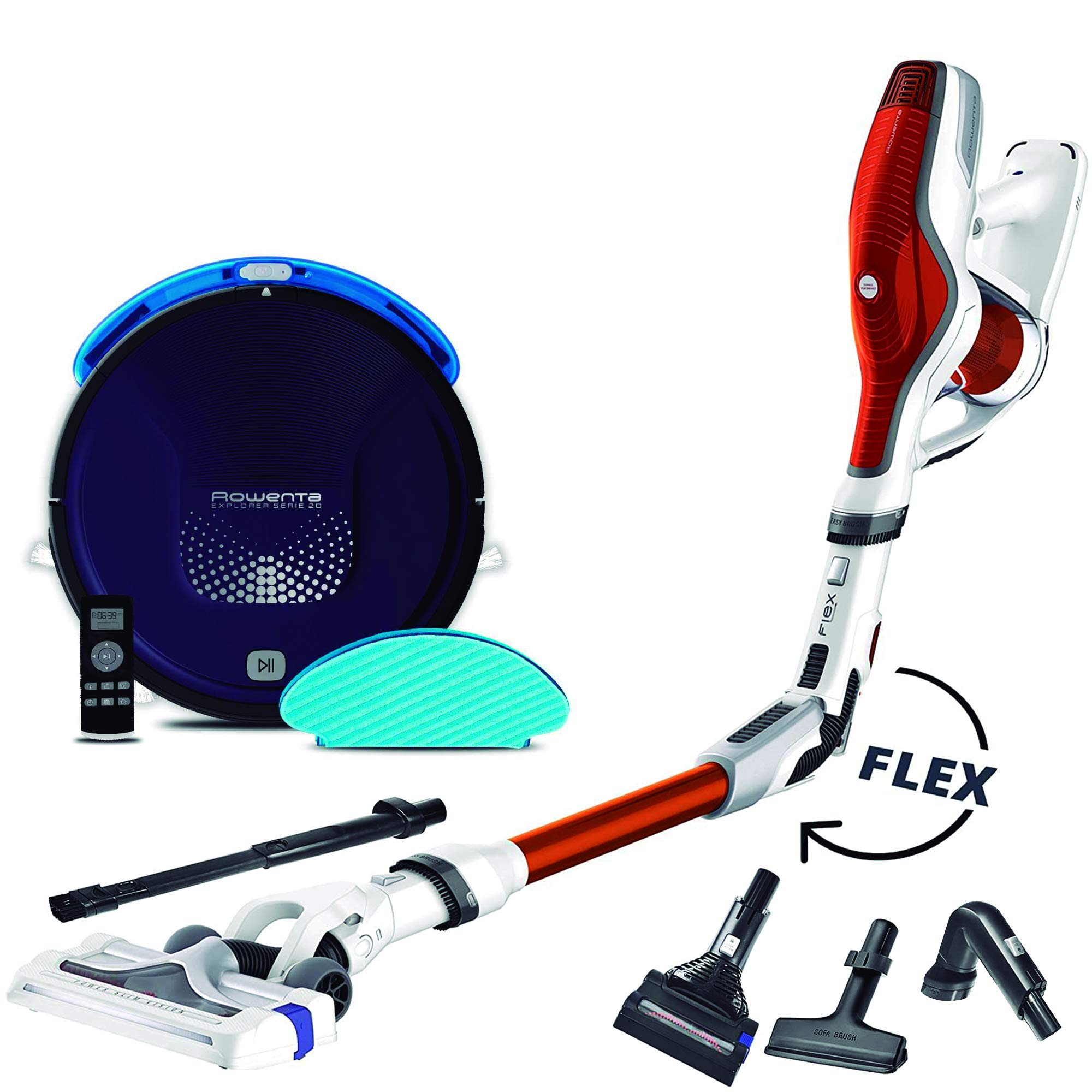 Rowenta Smart Force Explorer Aqua RR6871WH - Robot Aspirador 2 en 1, aspira y friega + Rowenta Air Force Flex 560 RH9474WO Aspiradora de Mano sin Cable, Tubo Flexible: Amazon.es: Hogar