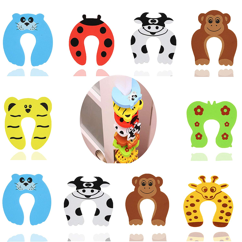 Goiio 10 Pcs Finger Pinch Guard, Cartoon Animal Door Stop Soft Foam Cushion Baby Finger Protector.
