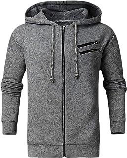 qianqianq Mens Sweatshirt Athletic-Fit Casual Hooded Fleece Solid Color Sweatshirt