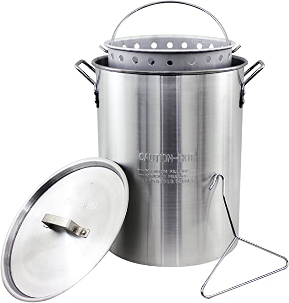 Chard ASP30 Aluminum Stock Pot And Perforated Strainer Basket With Safety Hanger 30 Quart