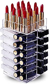 hblife Lipstick Holder, Acrylic Rotating 64 Lipstick Tower Organizer Spinning Lipstick Tower Lipgloss Holder with Removable Dividers