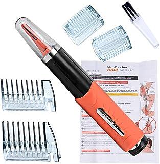 (inkint)簡単ヘアトリマー 電動式 鼻毛トリマー 眉毛クリッパー ひげそり ヘアカッター 髪の毛もカットできる! 両端使用可能 LEDライト内蔵 4×アタッチメント 使用便利 オレンジ