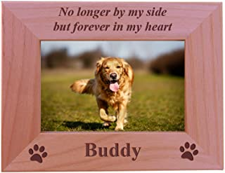 No Longer by My Side but Forever in My Heart - Custom Engraved Wood Dog Picture Frame Holds 4x6 Inch Photo - Add Your Dogs Name (4x6 Horizontal)