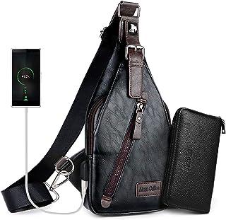 Alena Culian Sling Backpack Men Leather Chest Bag Crossbody Shoulder Bag For Men(black)