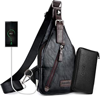 Alena Culian Sling Backpack Men Leather Chest Bag Crossbody Shoulder Bag For Men(black)