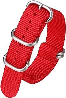 Achket حزام 20 ملليمتر النايلون قماش ووتش bandmen النساء الرياضة للماء استبدال watchband حزام سوار المعصم (Color : 20mm, S...