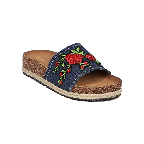 e1c323eef6b Nature Breeze Women Metallic Leatherette Embroidered Roses Espadrille  Footbed Sandal GH95