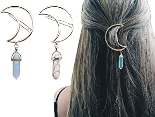 2 Pcs Women Boho Stone Moon Pendant Statement Hairpin Hair Clip Jewelry Accessories (Blue and White)