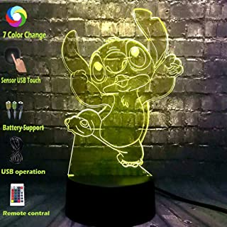 Jinlycoo Sleeping Lamp Cartoon Stitch lamp for Kid 3D Visual Night Light LED 7 Colors USB Touch Switch Remote Control Change Room Decor Table Mood Lava Baby Produce Children Toy Fun Gift (Jump Stitch)