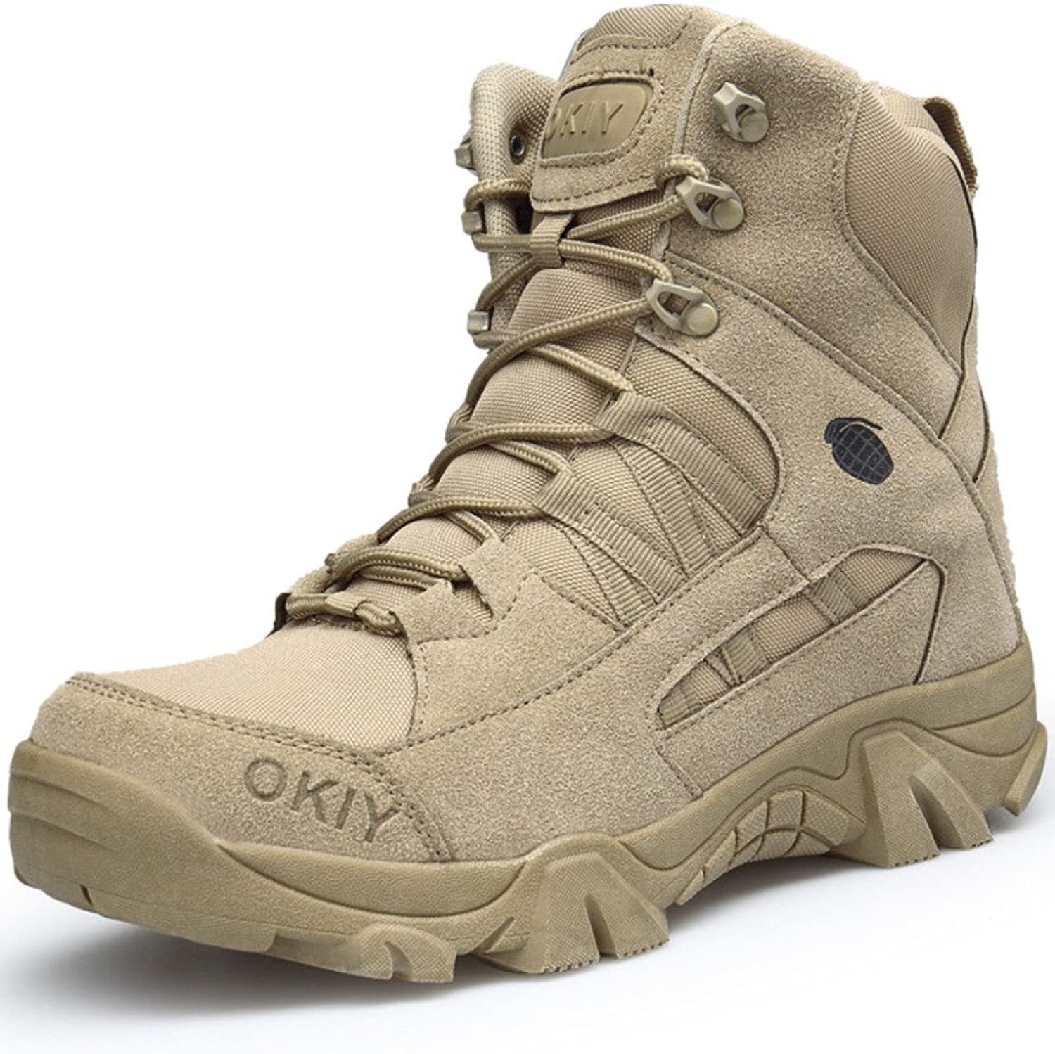 Boots,Mens,Military Army,Tactical Outdoor,Desert,Men,Breathable,Camping Hiking Combat,Lace Up High Top,Leather shoes
