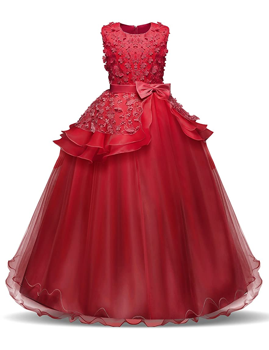 NNJXD Girl Sleeveless Embroidery Princess Pageant Dresses Kids Prom Ball Gown honwhfs890728