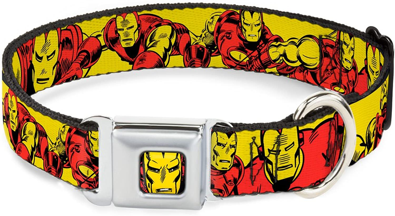 BuckleDown DCWIM004WL Dog Collar Seatbelt Buckle, Iron Man Body Action Repeat Yellow, 1.5  by 1832
