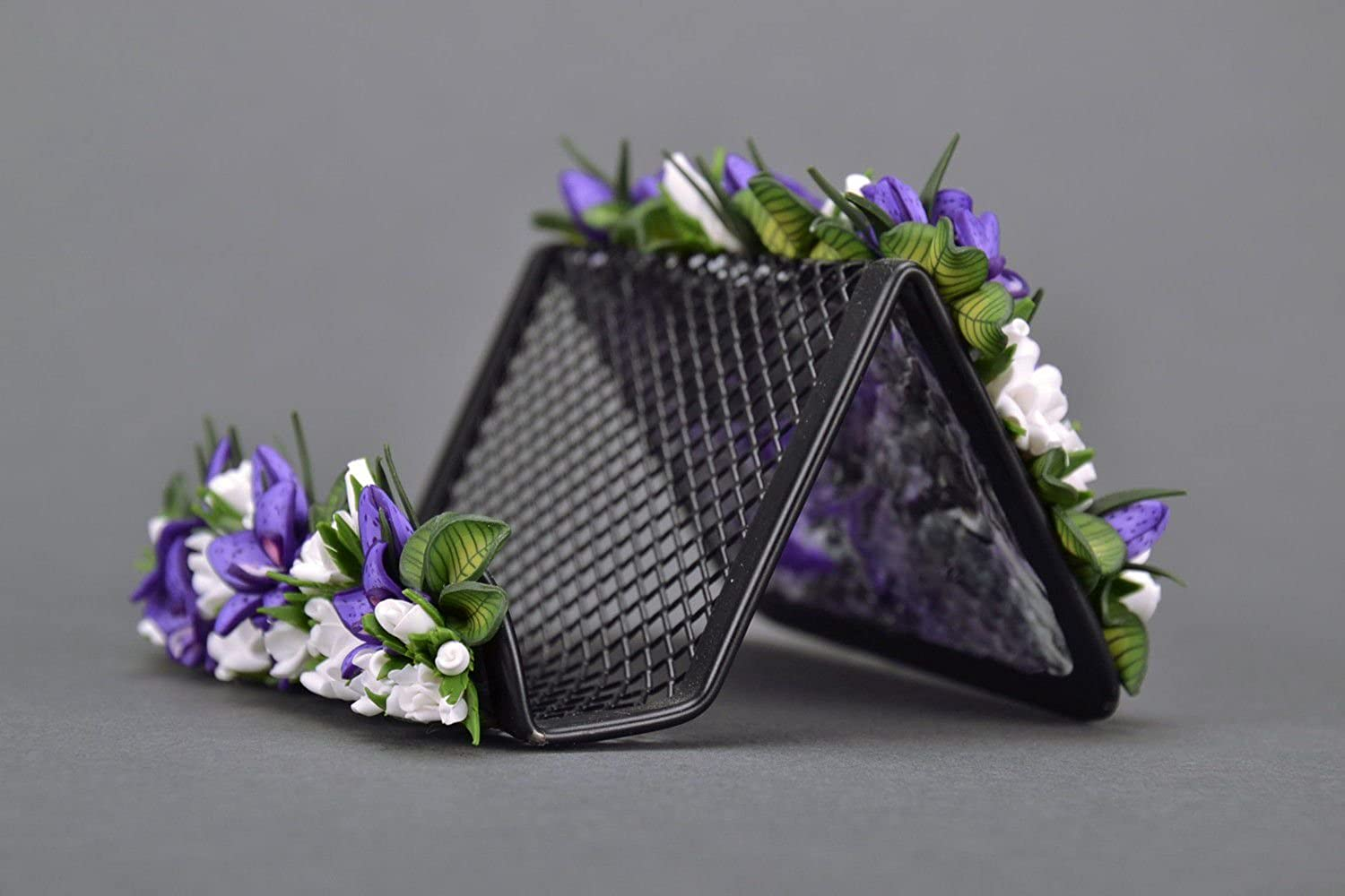 Handmade Card Holder With Flowers From Polymer Clay