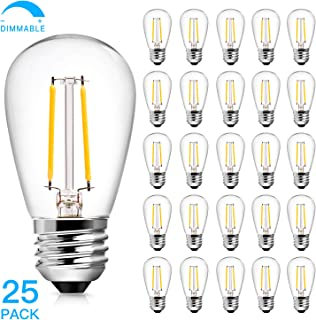 S14 2W LED Edison Light Bulbs Dimmable for Outdoor String Light Replacement, Daylight White 5000K Waterproof Vintage LED Filament Bulb, 20-25 Watt Equivalent LED Bulbs, E26 Screw Base, Pack of 25