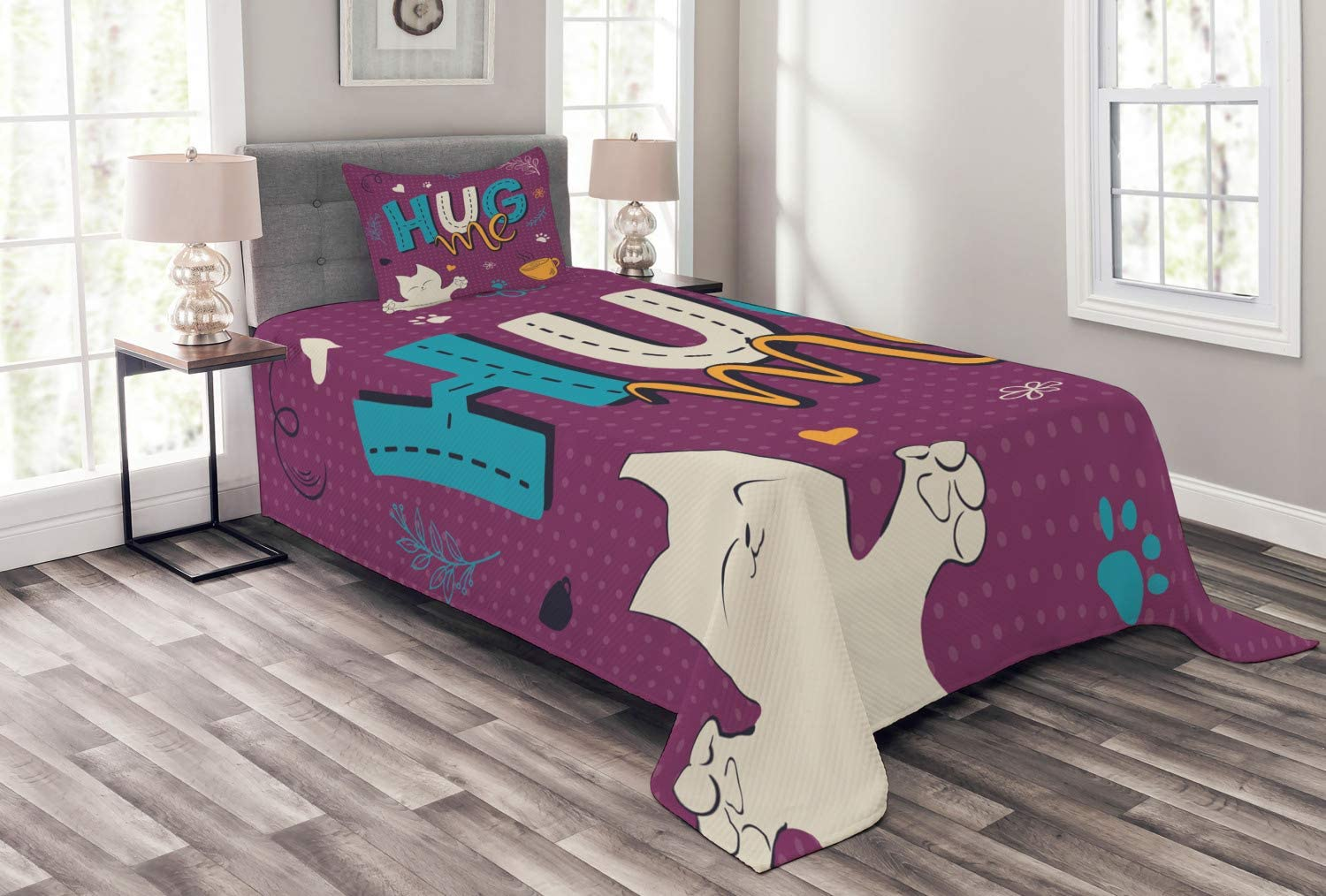 NEW before selling Ambesonne Hug Bedspread Happy Colorful Doodle Ti of Cup Limited time for free shipping Cat Tea