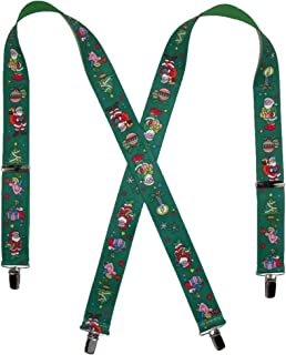 Elastic Christmas Themed Holiday Clip End Suspenders