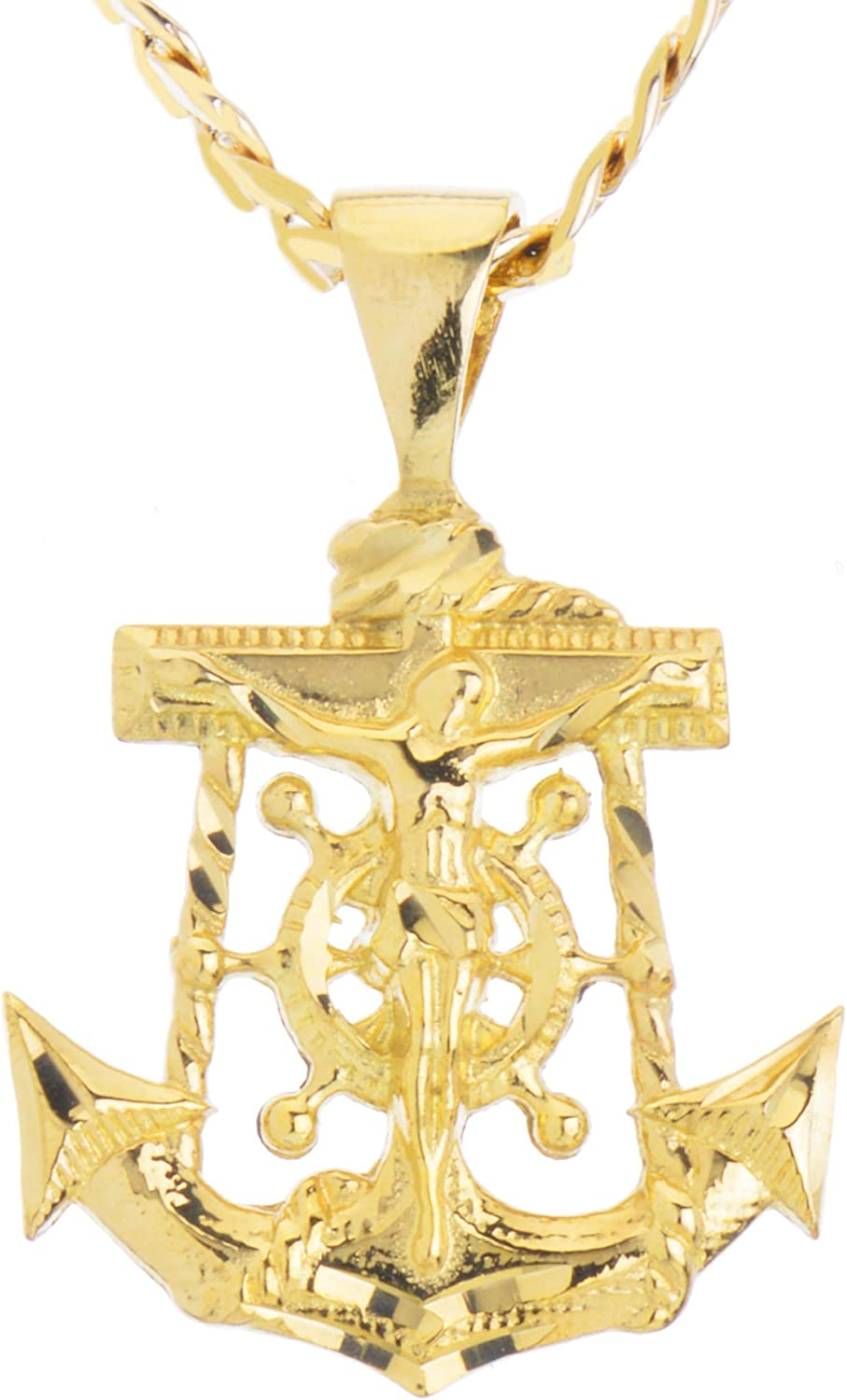 metaltree98 Solid Gold Plated Anchor Jesus Diamond Cut Pendant 20