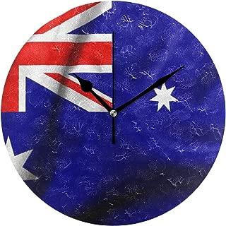 HangWang Wall Clock Flag of Australia Silent Non Ticking Decorative Round Digital Clocks for Home/Office/School Clock