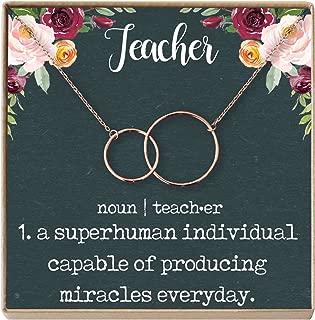 Teacher Gift Necklace: Teacher Appreciation Gift, Thank You, 2 Interlocking Circles