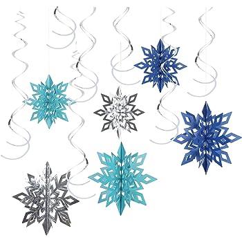 Amscan Colgantes decorativos en espiral 12 piezas dise/ño de copos de nieve