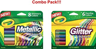 Crayola Glitter Markers, 6 Count (Glitter Markers and Metallic Markers)