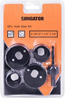 Best Hole Saw Kit, SUNGATOR 5-Piece Set. Specially Constructed Heat Treated Carbon Steel, High Precision Cutting Teeth. Cut Clean, Smooth, and Precise Holes Through Wood, Plastic, PVC Board and Drywall. Review