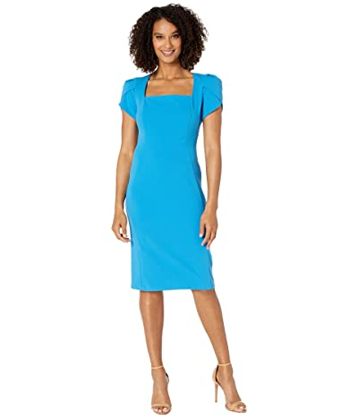 Donna Morgan Tulip Cap Sleeve Square Neck Sheath Crepe Dress (Aqua) Women