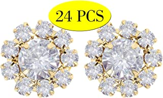 Wholesale 24PCS 16MM Gold Plated Metal Clear Rhinestone Glass Buttons Embellishments Bulk for Craft (Flat)