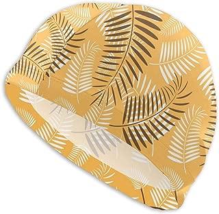 Sprutea Palm Tree Leaves Orange Pattern Vector Image Customized Durable Soft Swim Cap Summer Unisex Suitable for Aqua Aerobics
