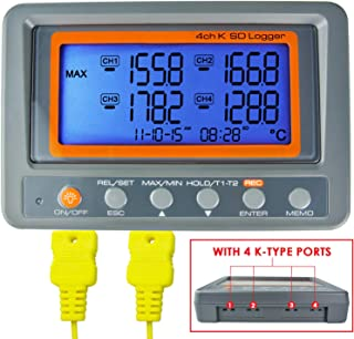 Thermometer Thermocouple K Type 4-Channel Multi Channel SD Card Data Logger Temperature with Beeper and LED Alarm + 2 Bead Type Probe Wire Sensor