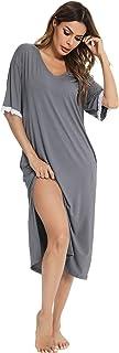 Vlazom Camisón Mujer Verano Suave y Transpirable con Dos Bolsillos, Vestido de Pijama Casual con Mangas Cortas, Ropa de Do...