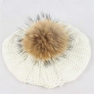 Hat Fashion Beret Hat Womens Winter Knitting Wool Warm Hat Daily Slouchy Hats Fashion Accessories (Color : White)