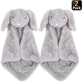Time2blossom Security Blanket Loveys for Baby - Giftset of 2 Small Gray Bunny Rabbit blankies with washbag, Soft Plush Luxury snuggler, Perfect for Baby Shower, Newborn, Toddler Gift