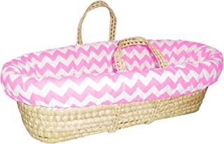 Baby Doll Bedding Chevron Moses Basket, Pink