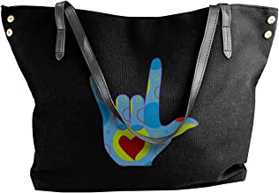 American Sign Language I Love You Women Canvas Shoulder Bag Fashion Handbag