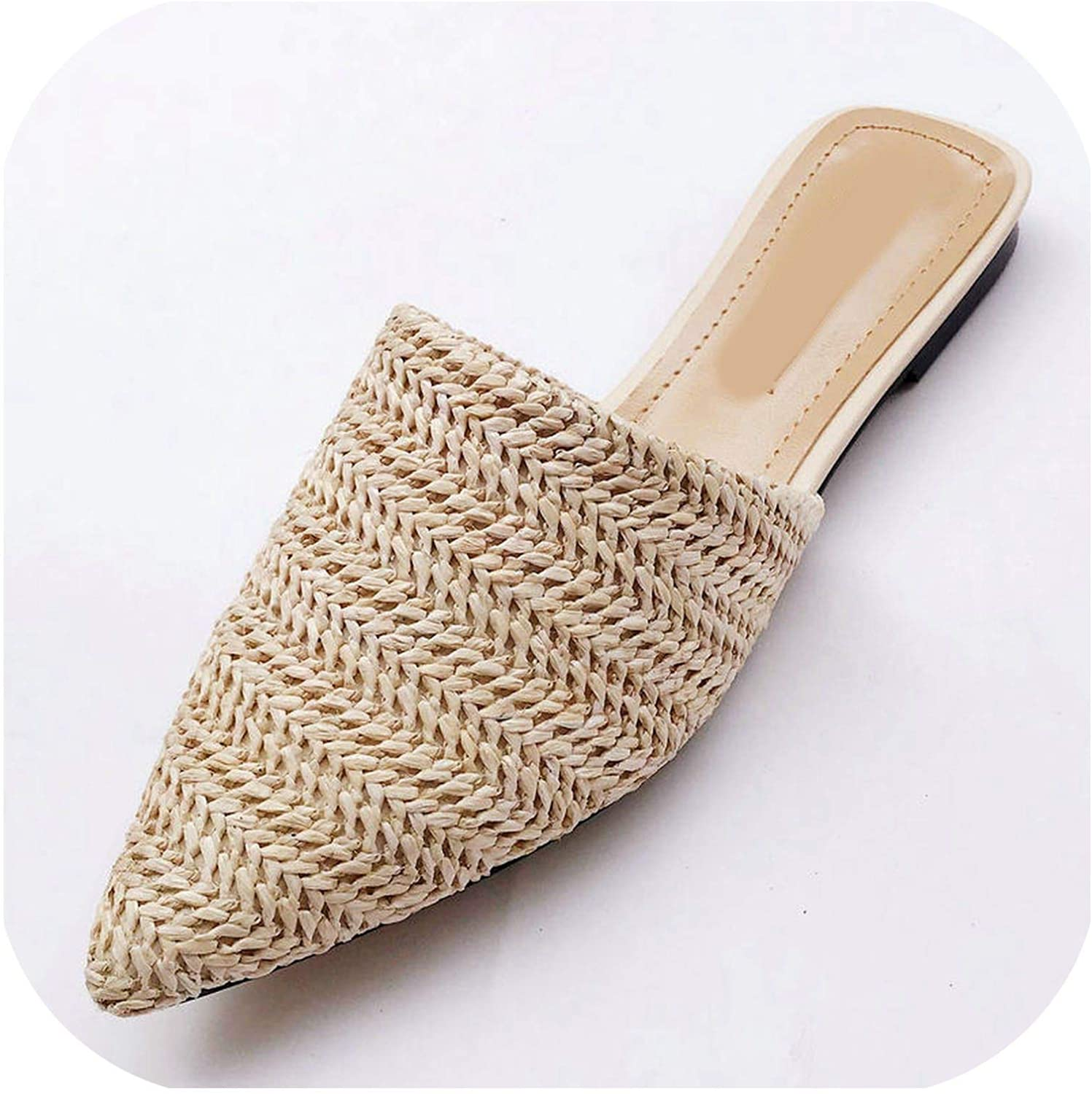 Lewis Pitman Women Slippers Pointed Toe Weave Mules shoes Flat Slides Summer Beach Flip Flop