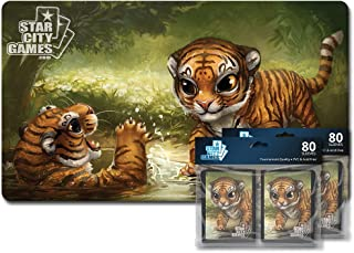 Star City Games Creature Collection Player Bundle - Tiger (One Playmat & Two 80 ct. Packs of Sleeves)