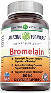 Sponsored Ad - Amazing Formulas Bromelain-500 mg,2400 GDU-120 Veggie Capsules - (Non-GMO, Gluten Free) Proteolytic Enzymes...