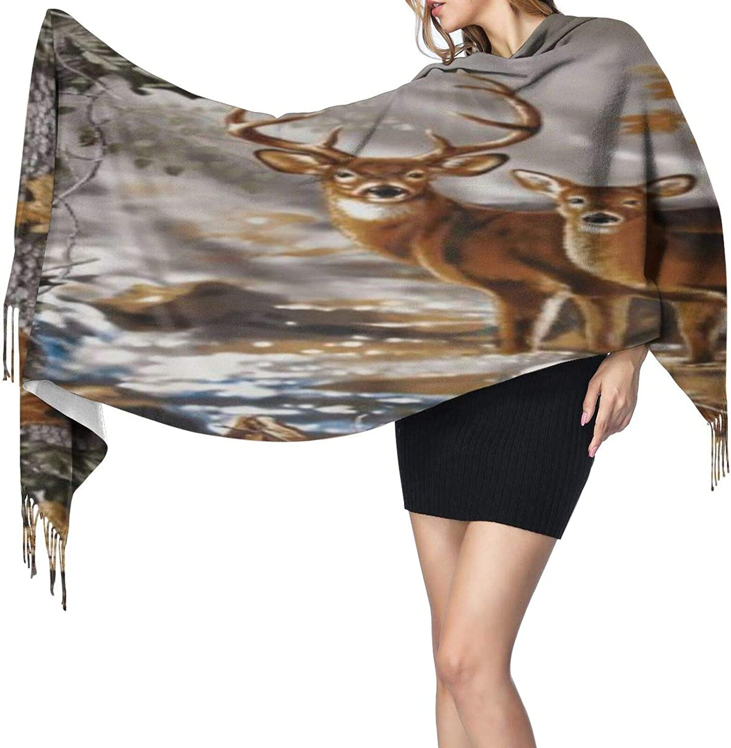 Cashmere fringed scarf Tree Camouflage Deer winter extra large scarf