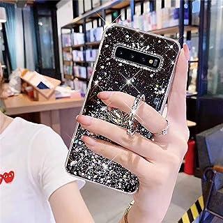 Uposao Telefoonhoes voor Samsung Galaxy S10 Plus, glitter, siliconen, met ringhouder, standaard, beschermhoes voor meisje...