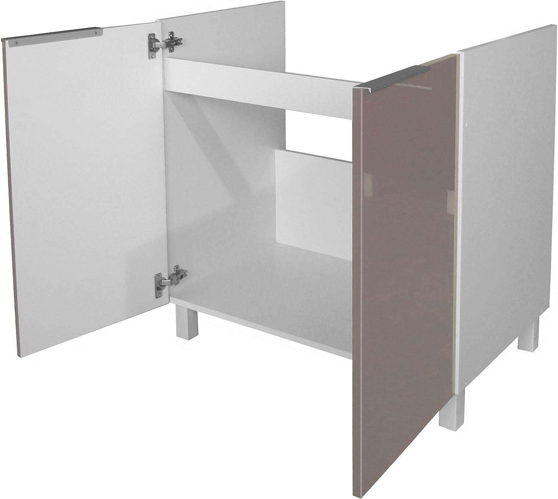 Berlenus CE8BT gabinete Sub-Abajo del Fregadero de Cocina de Color Topo del Alto Brillo 80 x 52 x 83 cm