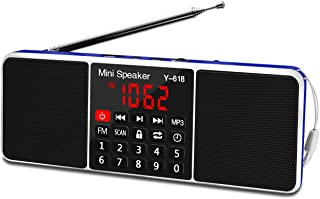 Lefon Multifunction Digital FM Radio Media Speaker MP3 Music Player Support TF Card USB Drive with LED Screen Display and ...