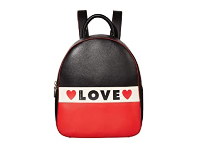 LOVE Moschino Love Heart Backpack (Black/White/Red Small Grain PU Mix) Backpack Bags